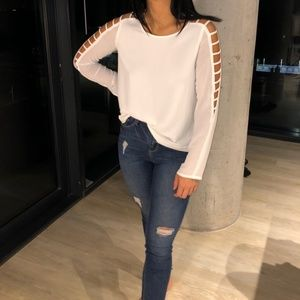 white chiffon long sleeve